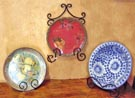 Wrought Iron Metal Plate & Bowl Display Pieces