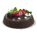 Artificial Chocolate Cake w Sliced Fruit Topping